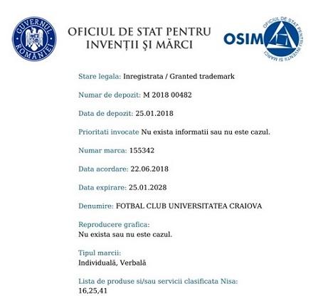 "EXCLUSIV – Lovitura de gratie pentru Mititelu pe 22 iunie 2018 : Universitatea Craiova a recuperat cu acte in regula brandurile ""FC Universitatea Craiova"" si ""Fotbal Club Universitatea Craiova"""
